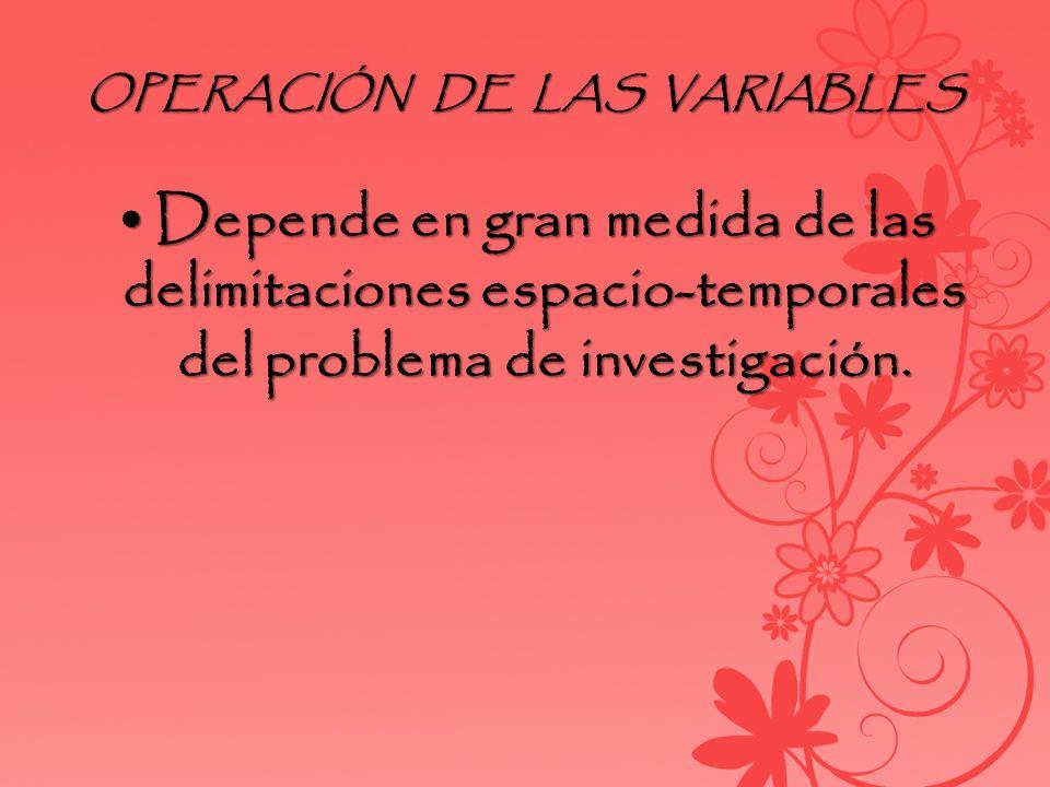 OPERACIÓN DE LAS VARIABLES
