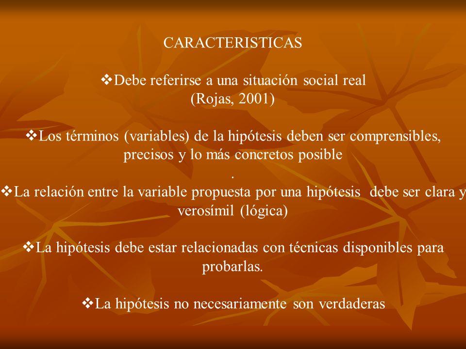 Debe referirse a una situación social real (Rojas, 2001)
