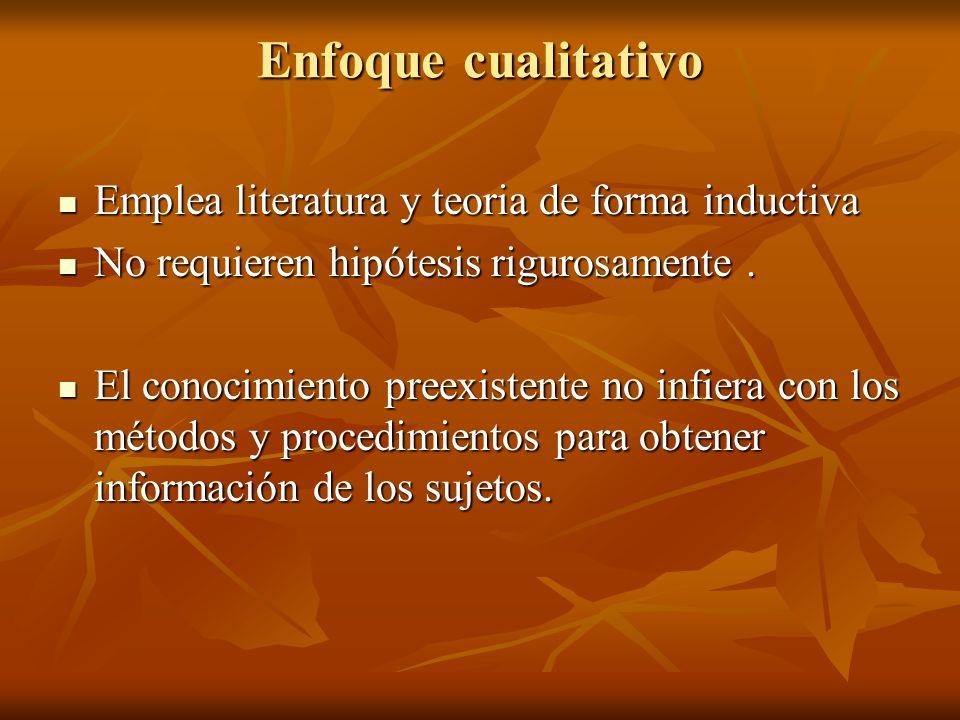 Enfoque cualitativo Emplea literatura y teoria de forma inductiva