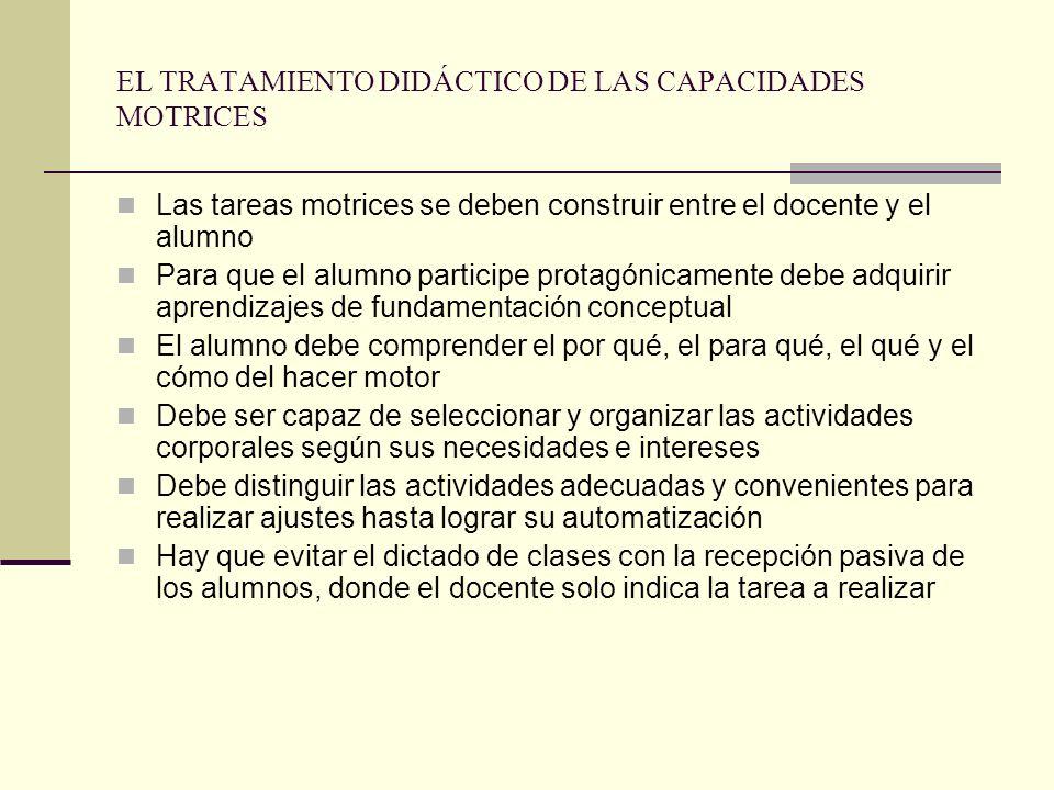EL TRATAMIENTO DIDÁCTICO DE LAS CAPACIDADES MOTRICES