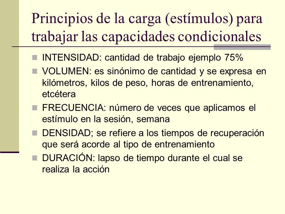 Principios de la carga (estímulos) para trabajar las capacidades condicionales