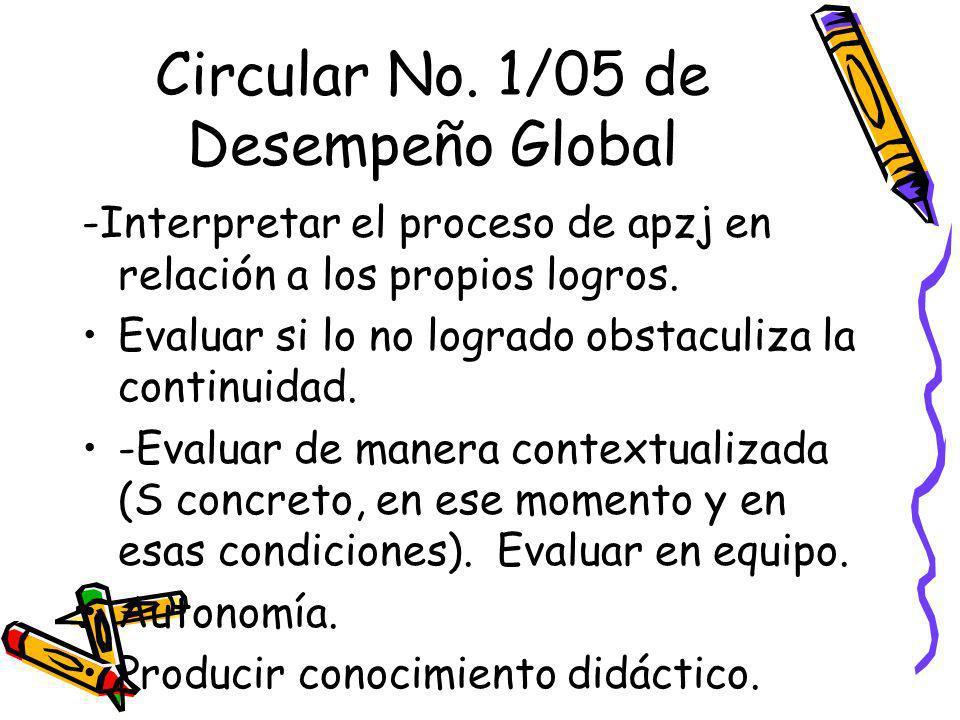 Circular No. 1/05 de Desempeño Global