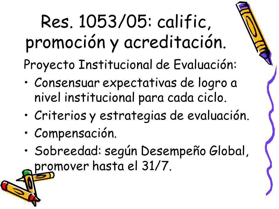 Res. 1053/05: calific, promoción y acreditación.