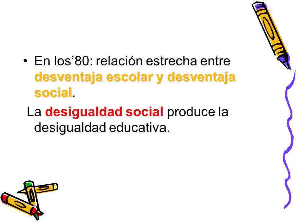 En los'80: relación estrecha entre desventaja escolar y desventaja social.