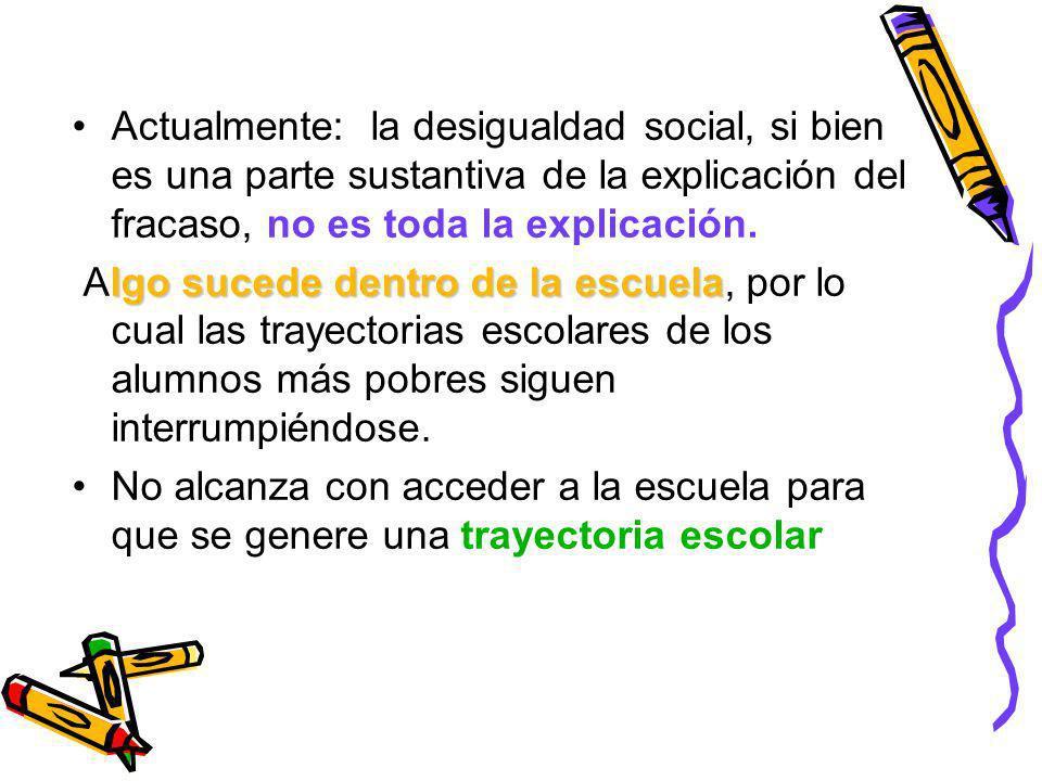 Actualmente: la desigualdad social, si bien es una parte sustantiva de la explicación del fracaso, no es toda la explicación.