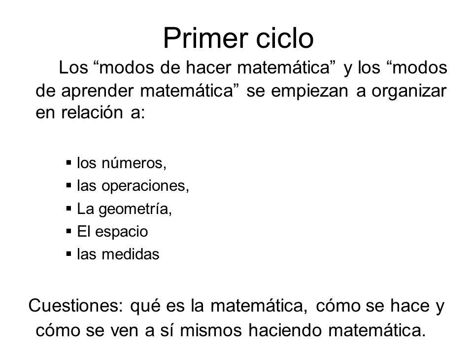 Primer cicloLos modos de hacer matemática y los modos de aprender matemática se empiezan a organizar en relación a: