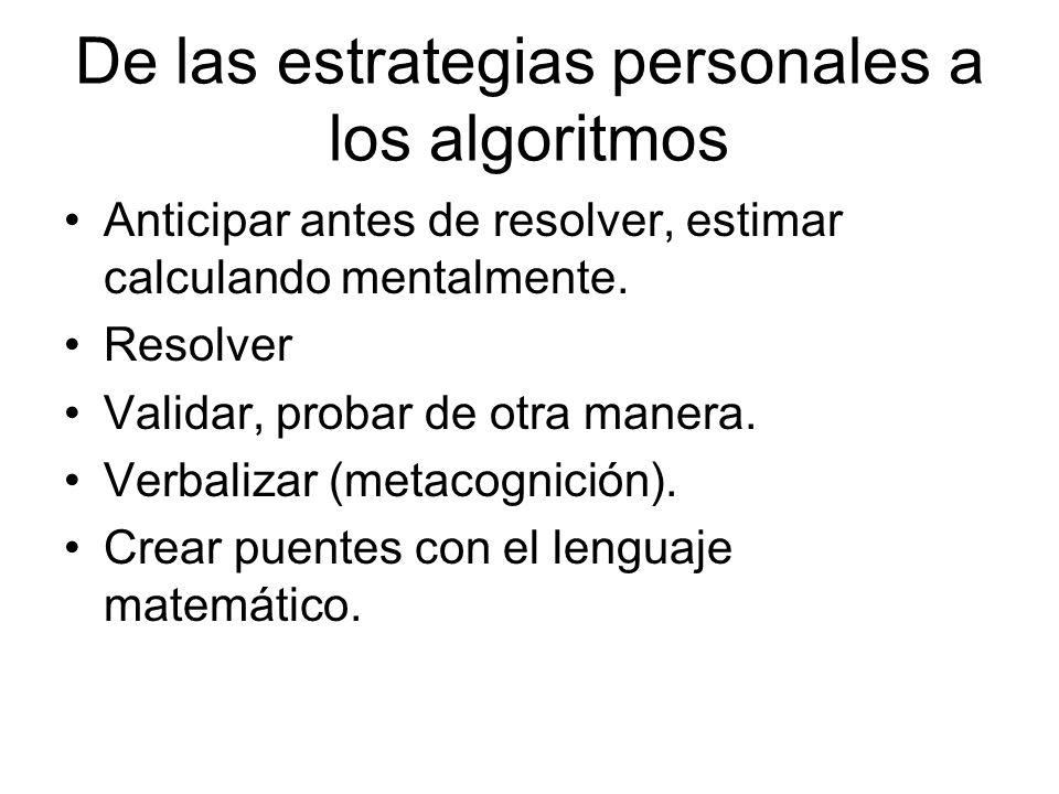 De las estrategias personales a los algoritmos