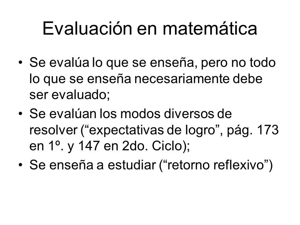 Evaluación en matemática