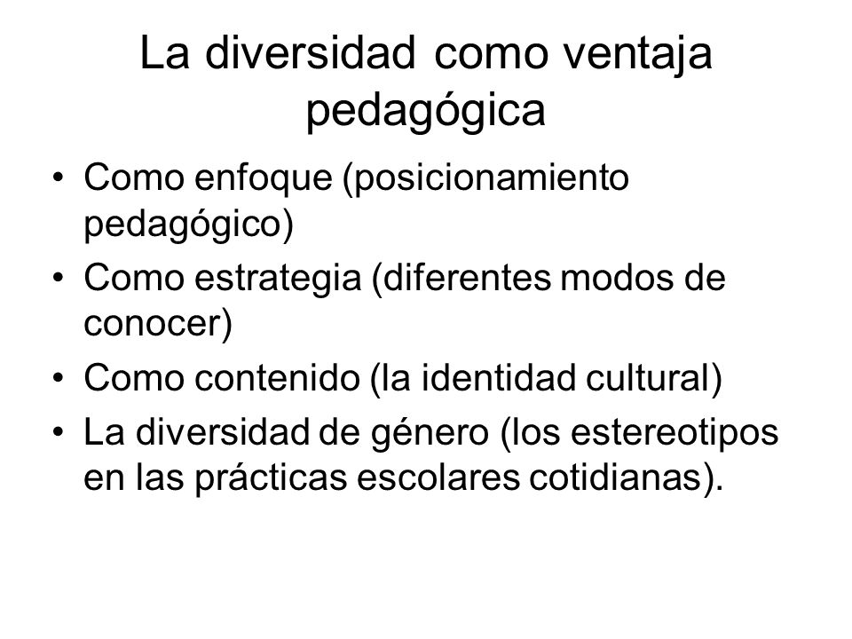 La diversidad como ventaja pedagógica