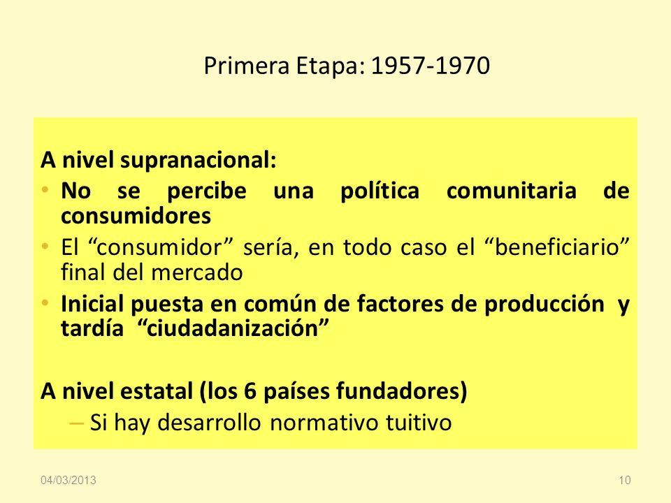 Primera Etapa: 1957-1970 A nivel supranacional: