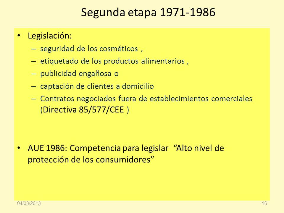 Segunda etapa 1971-1986 Legislación: