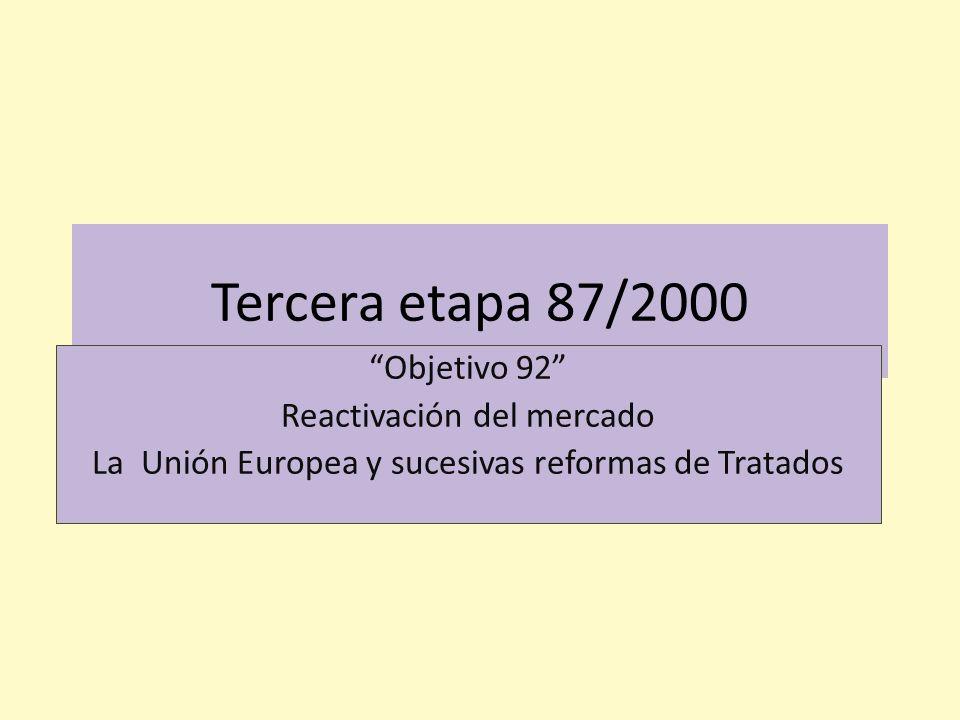 Tercera etapa 87/2000 Objetivo 92 Reactivación del mercado
