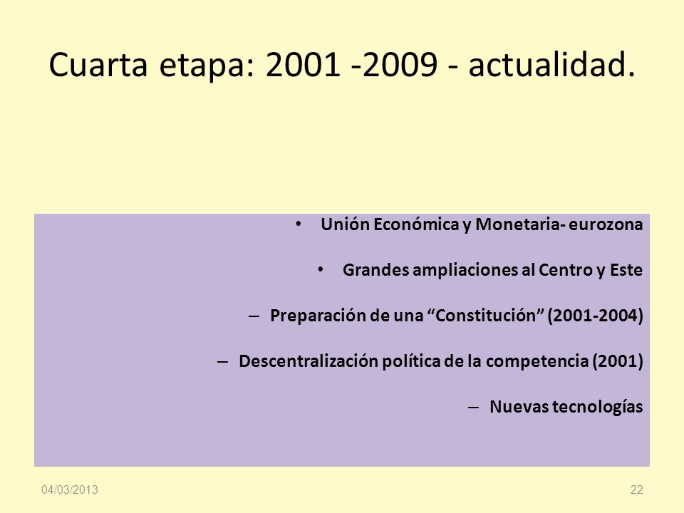 Cuarta etapa: 2001 -2009 - actualidad.