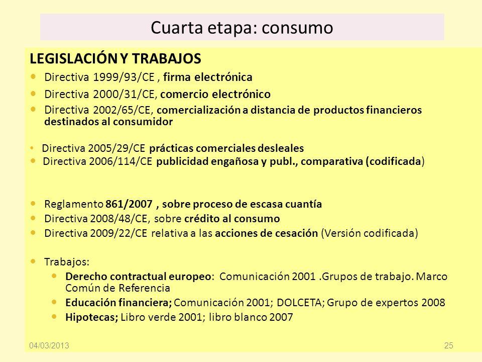 Cuarta etapa: consumo LEGISLACIÓN Y TRABAJOS
