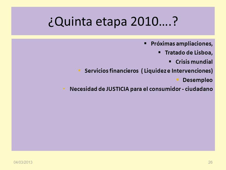 ¿Quinta etapa 2010…. Próximas ampliaciones, Tratado de Lisboa,