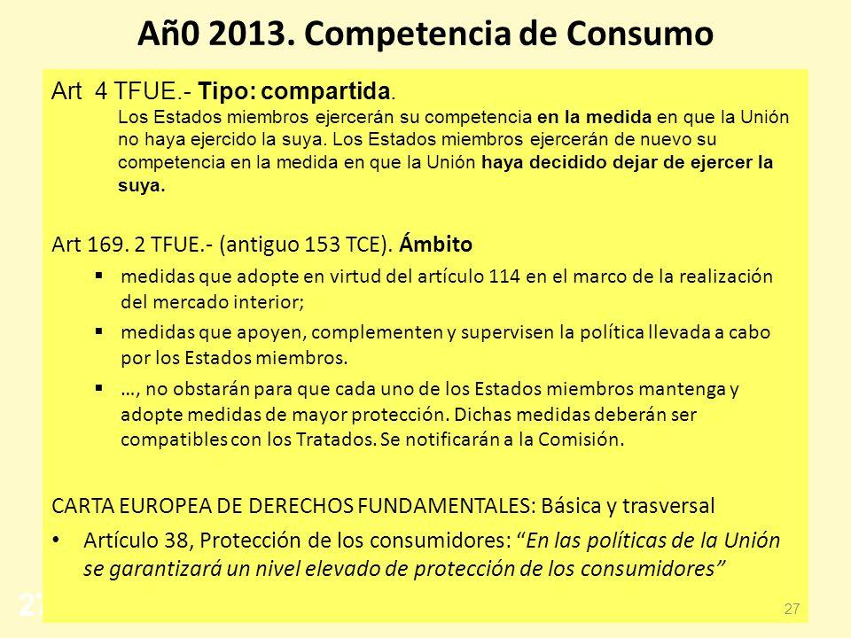Añ0 2013. Competencia de Consumo