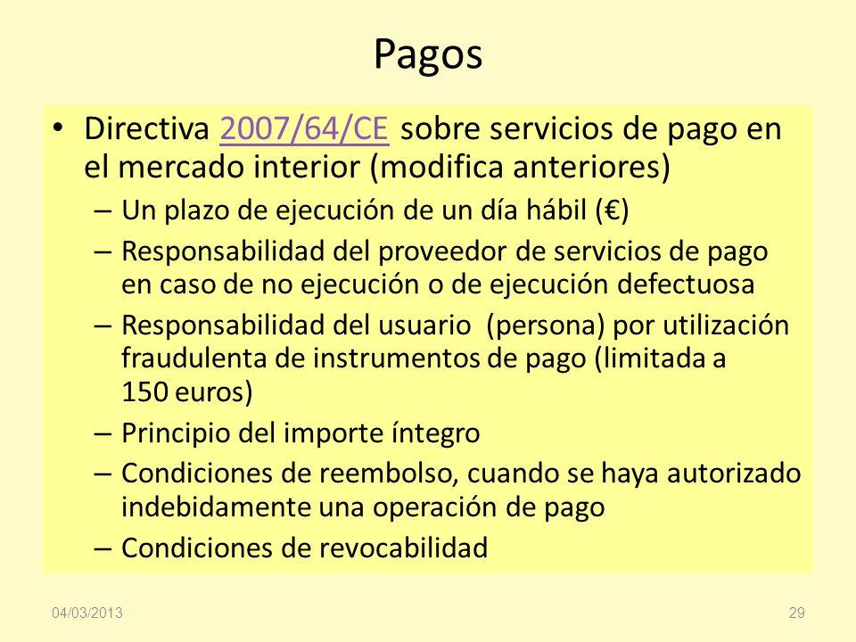 Pagos Directiva 2007/64/CE sobre servicios de pago en el mercado interior (modifica anteriores) Un plazo de ejecución de un día hábil (€)