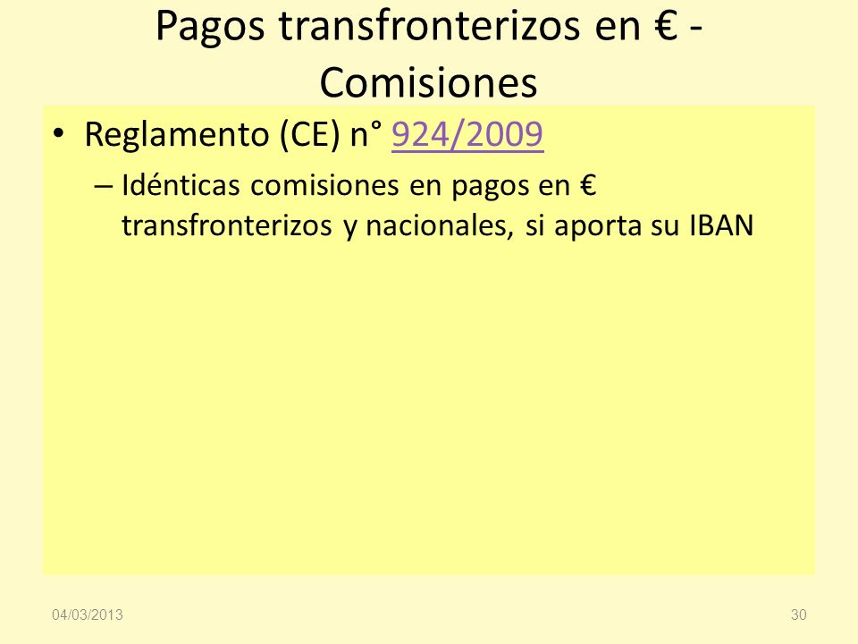 Pagos transfronterizos en € - Comisiones