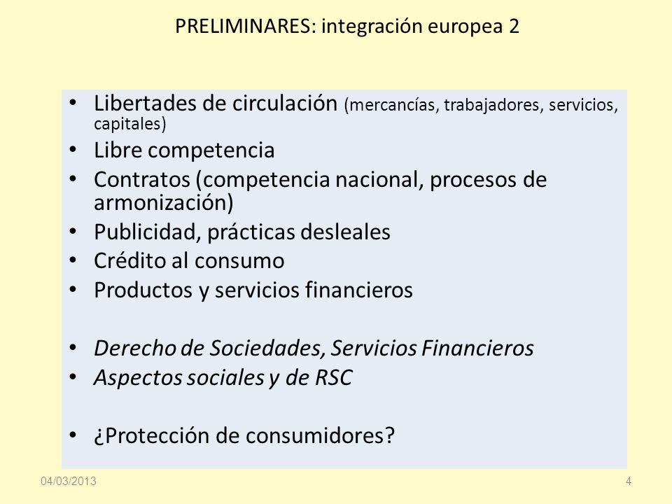 PRELIMINARES: integración europea 2