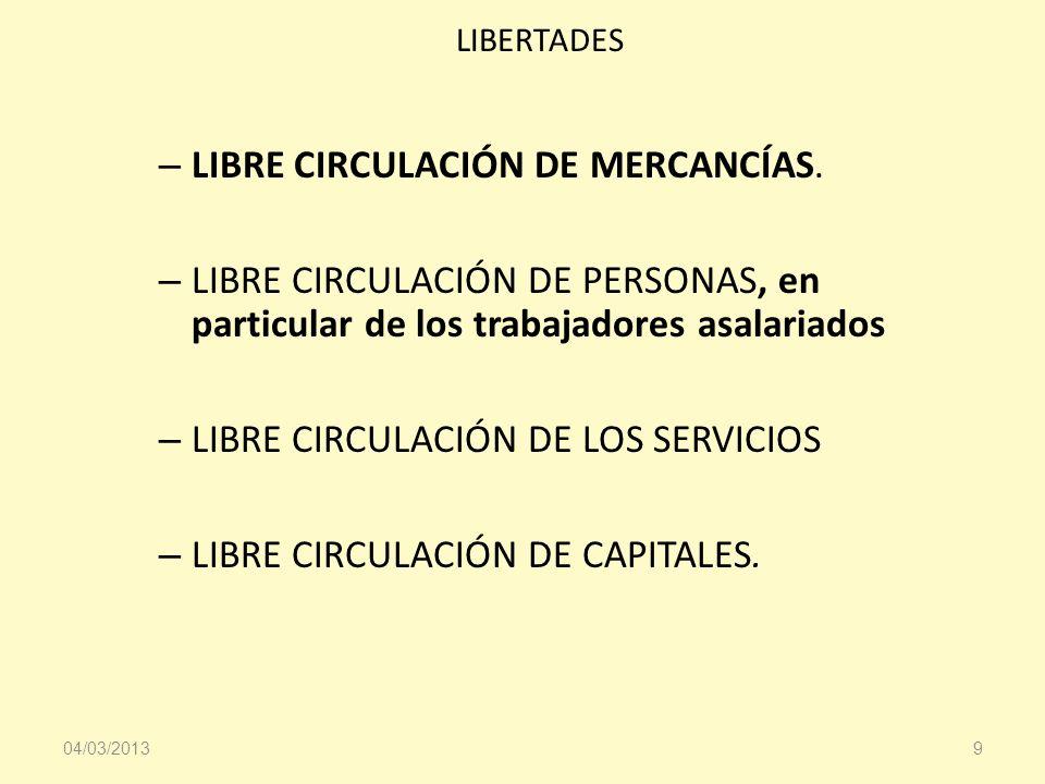 LIBRE CIRCULACIÓN DE MERCANCÍAS.