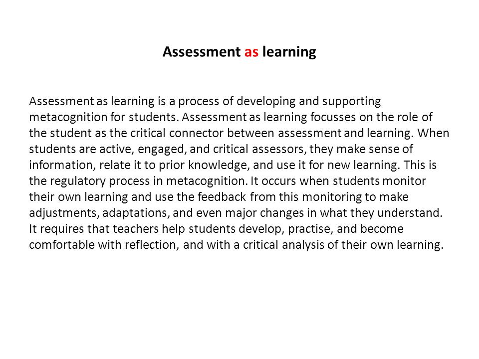 Assessment as learning