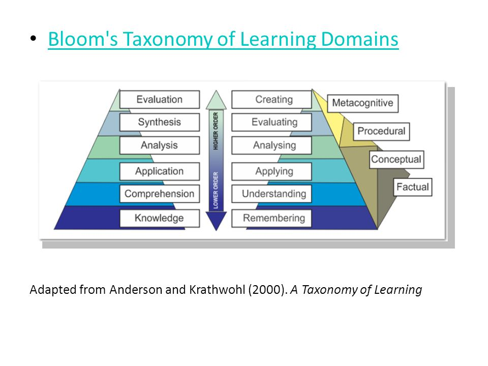 Bloom s Taxonomy of Learning Domains