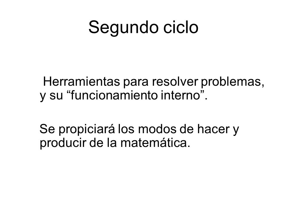 Segundo ciclo Herramientas para resolver problemas, y su funcionamiento interno .