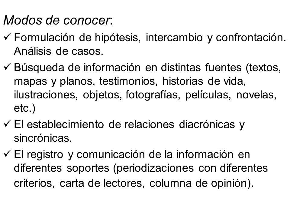 Modos de conocer:Formulación de hipótesis, intercambio y confrontación. Análisis de casos.