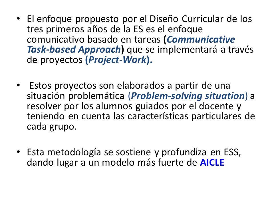 El enfoque propuesto por el Diseño Curricular de los tres primeros años de la ES es el enfoque comunicativo basado en tareas (Communicative Task-based Approach) que se implementará a través de proyectos (Project-Work).