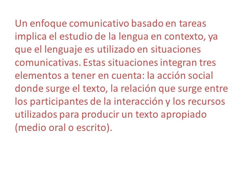 Un enfoque comunicativo basado en tareas implica el estudio de la lengua en contexto, ya que el lenguaje es utilizado en situaciones comunicativas.