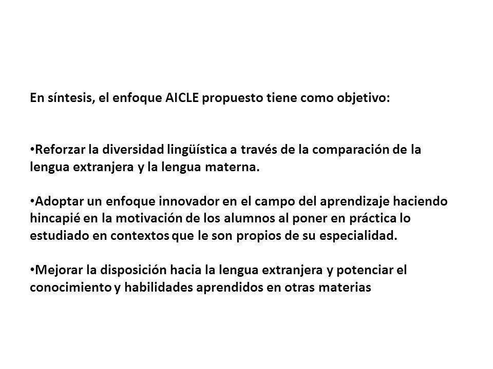 En síntesis, el enfoque AICLE propuesto tiene como objetivo: