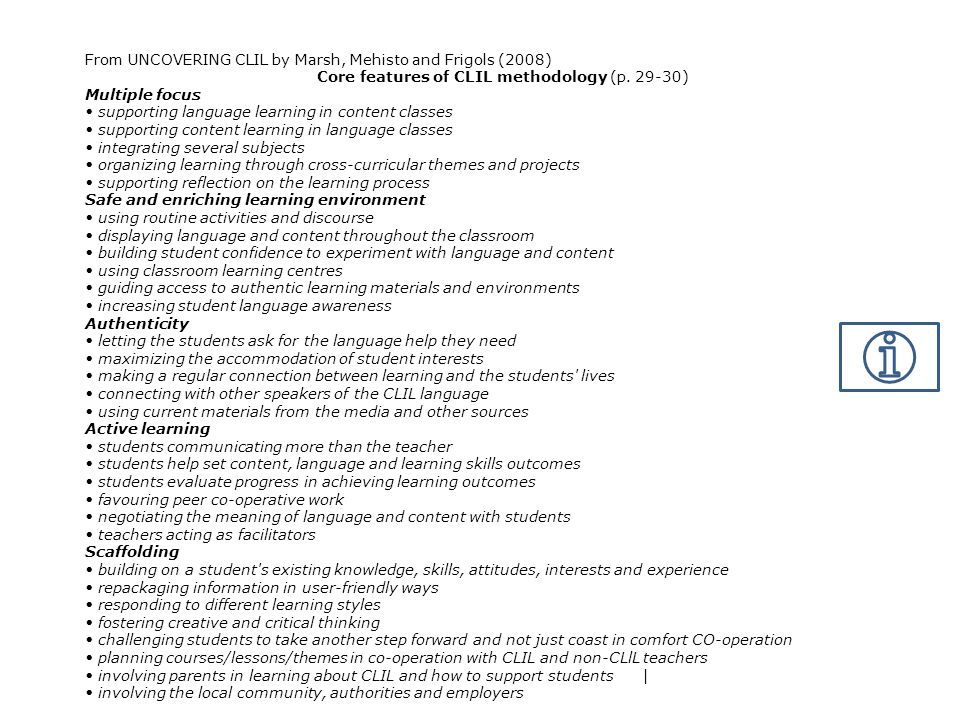 Core features of CLIL methodology (p. 29-30)
