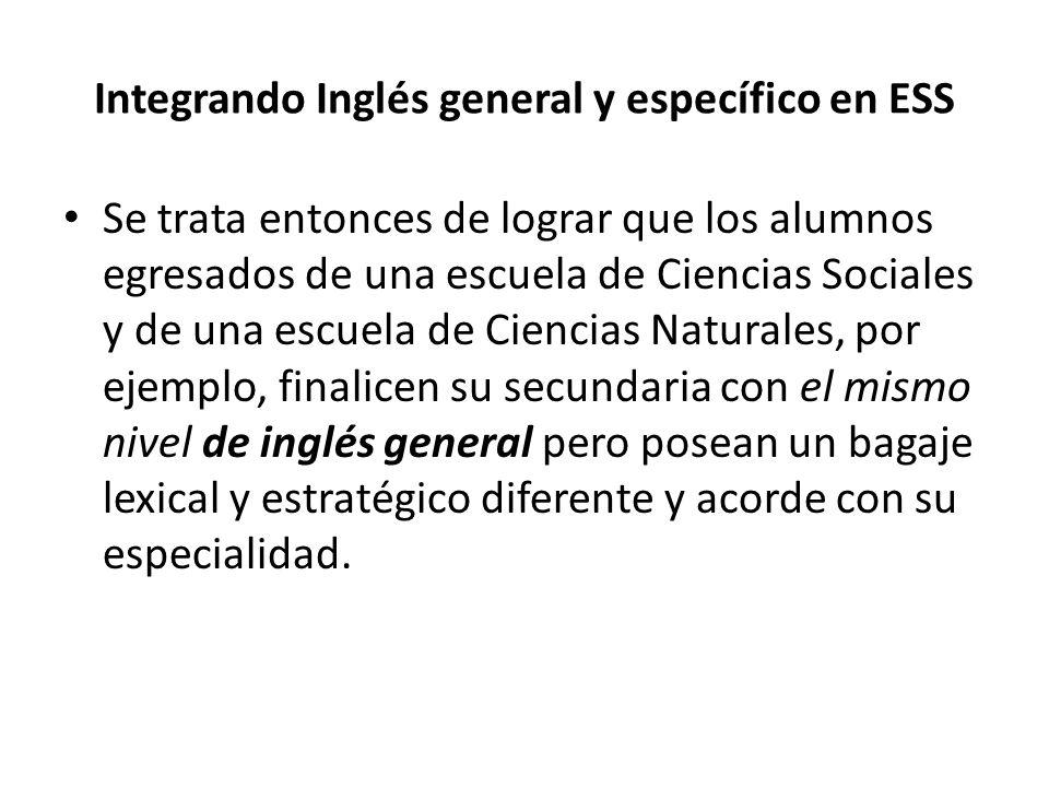 Integrando Inglés general y específico en ESS