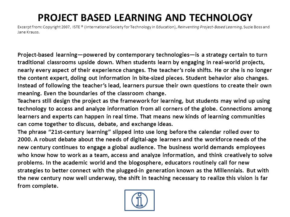 PROJECT BASED LEARNING AND TECHNOLOGY