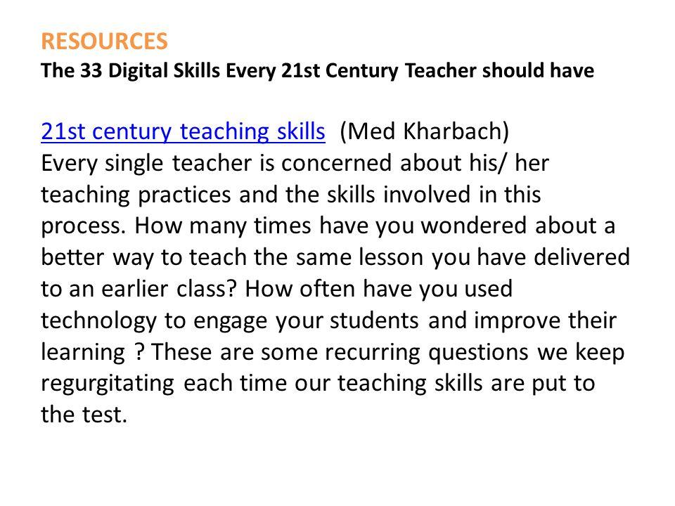 21st century teaching skills (Med Kharbach)