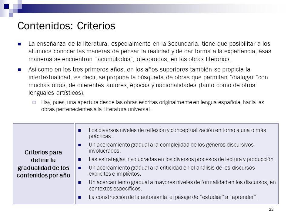 Contenidos: Criterios