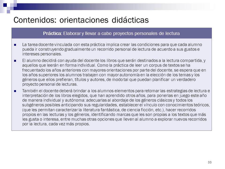 Contenidos: orientaciones didácticas