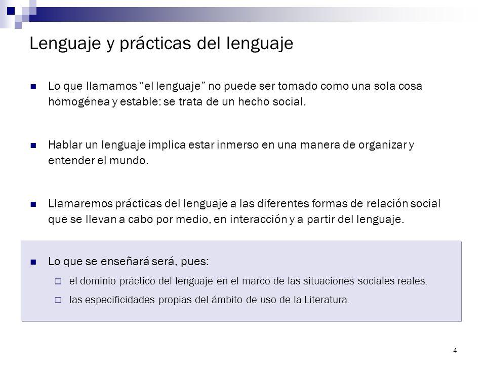 Lenguaje y prácticas del lenguaje