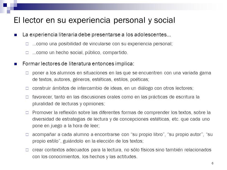 El lector en su experiencia personal y social