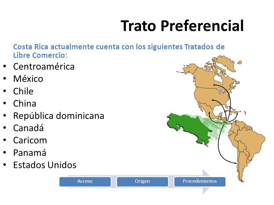 Trato PreferencialCosta Rica actualmente cuenta con los siguientes Tratados de Libre Comercio: Centroamérica.