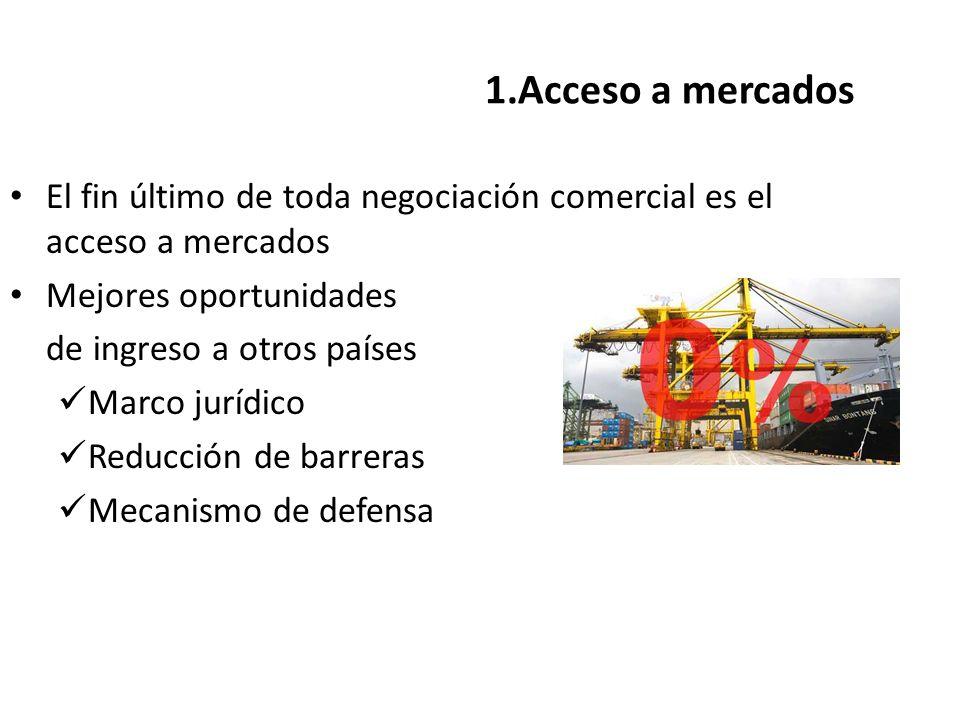 1.Acceso a mercados El fin último de toda negociación comercial es el acceso a mercados. Mejores oportunidades.