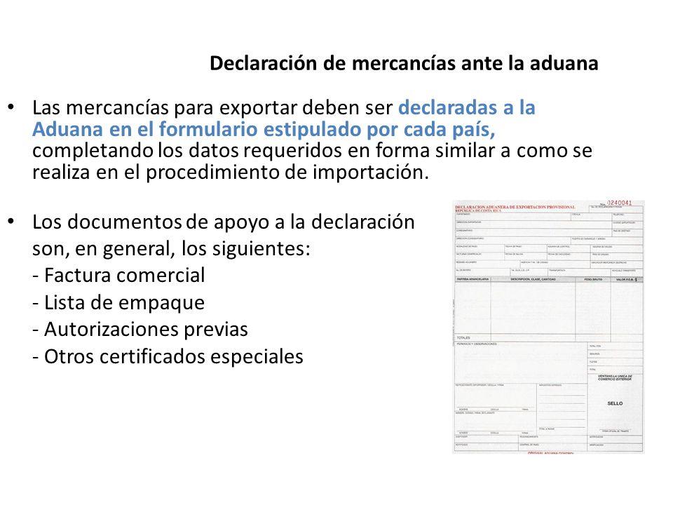 Declaración de mercancías ante la aduana