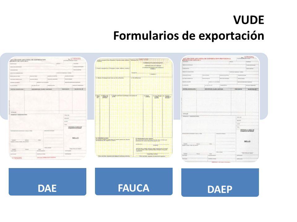VUDE Formularios de exportación