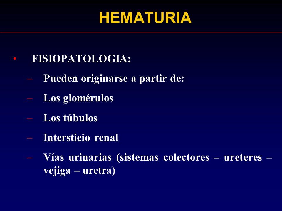 HEMATURIA FISIOPATOLOGIA: Pueden originarse a partir de: