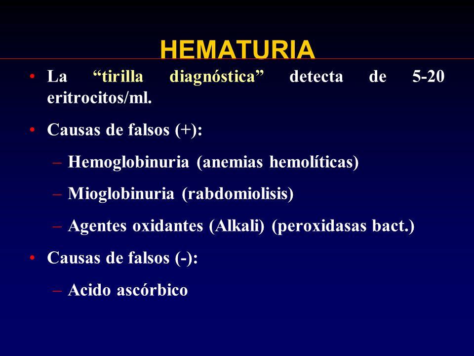HEMATURIA La tirilla diagnóstica detecta de 5-20 eritrocitos/ml.