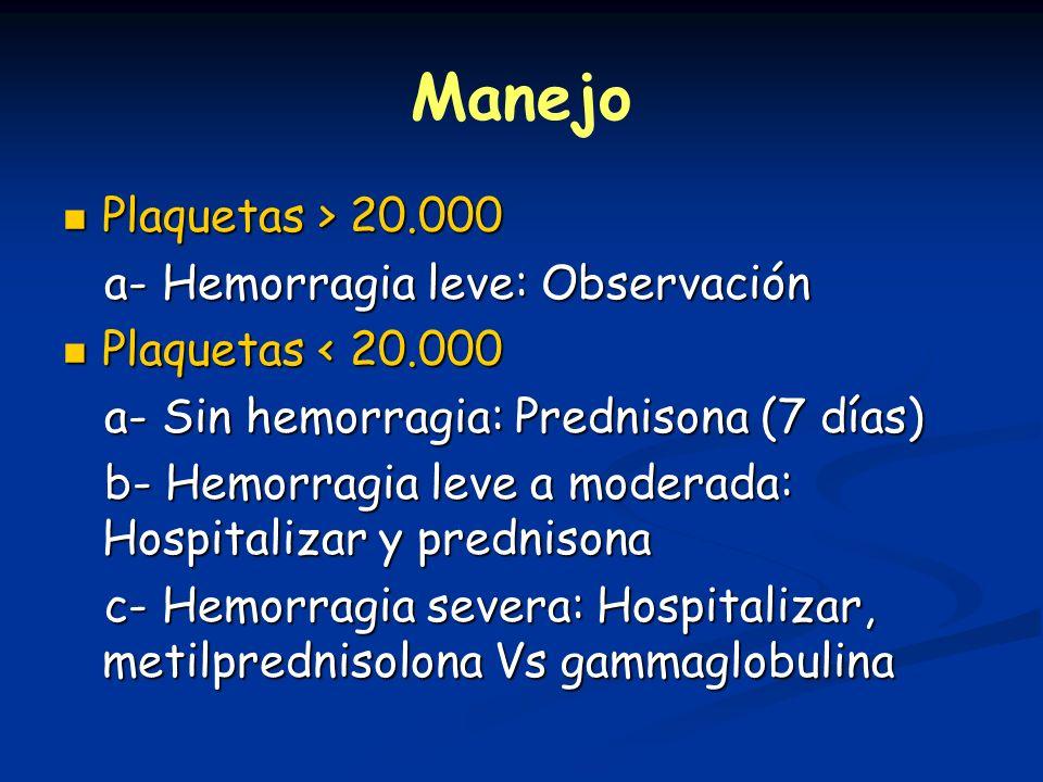 Manejo Plaquetas > 20.000 a- Hemorragia leve: Observación