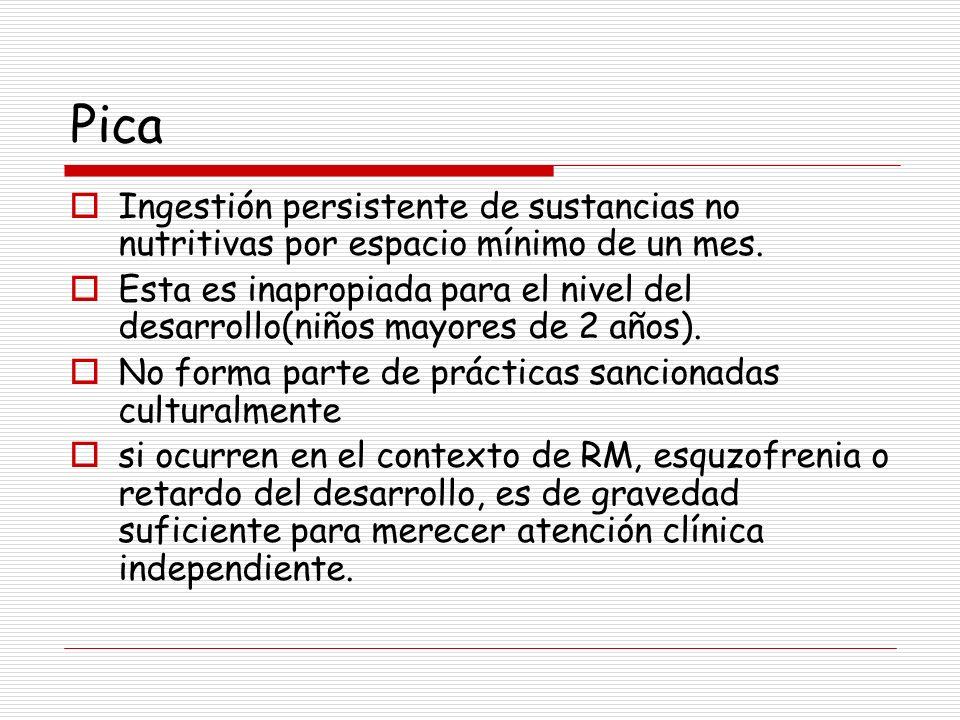 Pica Ingestión persistente de sustancias no nutritivas por espacio mínimo de un mes.