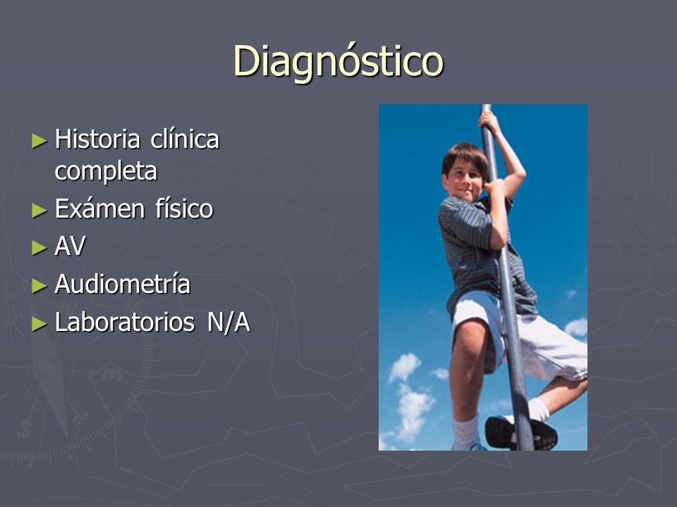 Diagnóstico Historia clínica completa Exámen físico AV Audiometría