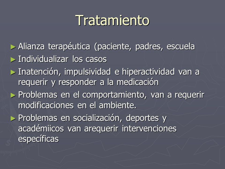 Tratamiento Alianza terapéutica (paciente, padres, escuela