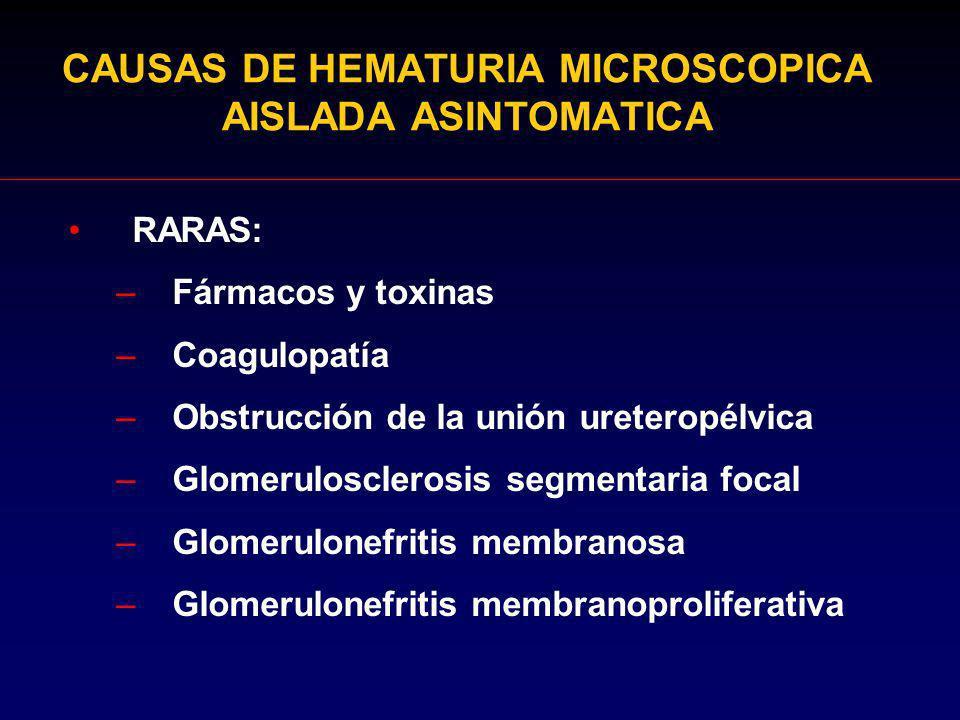 CAUSAS DE HEMATURIA MICROSCOPICA AISLADA ASINTOMATICA